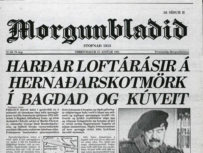 Forsíða Morgunblaðsins 17. janúar 1991.
