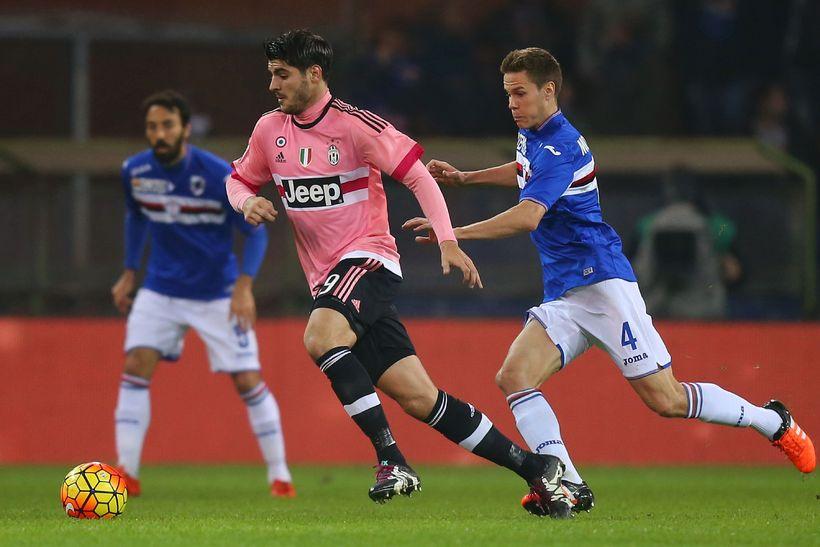 Alvaro Morata, leikmaður Juventus, í leik með liðinu gegn Sampdoria ...