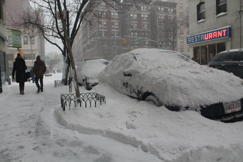 Talsverður snjór er núna í New York.