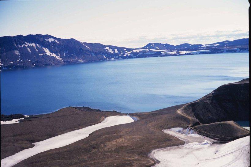 Volcanic Lake Askja with Mount Þorvaldstindur to the left, crater ...