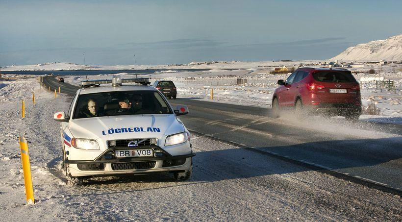 A police vehicle on the Reykjanes road on the southern ...