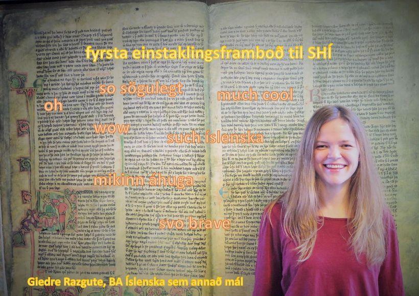 Framboðsefni Giedre er fjörlegt en lágstemmt samanborið við veggspjöld og ...