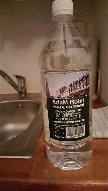 A special Hótel Adam water bottle.
