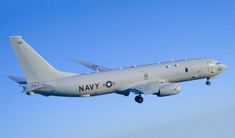 A US Navy P-8 Poseidon aircraft.