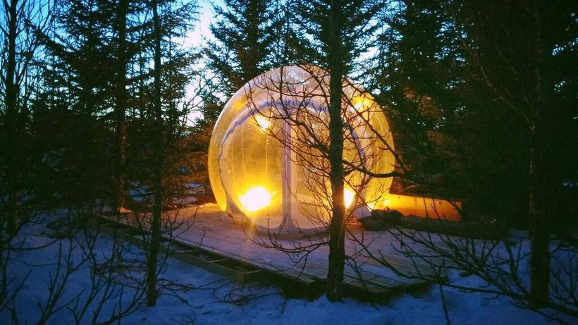 sleep in a transparent bubble under the stars in an icelandic forest