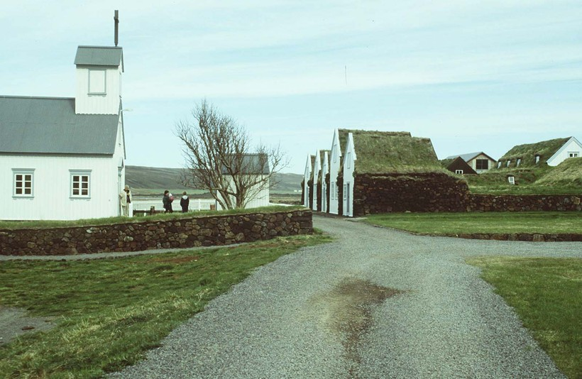 The church and farm at Grenjaðastaðir, North Iceland.