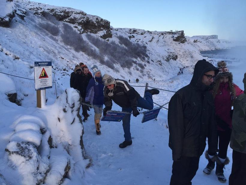 This photo was taken on Sunday at Gullfoss waterfall, where ...