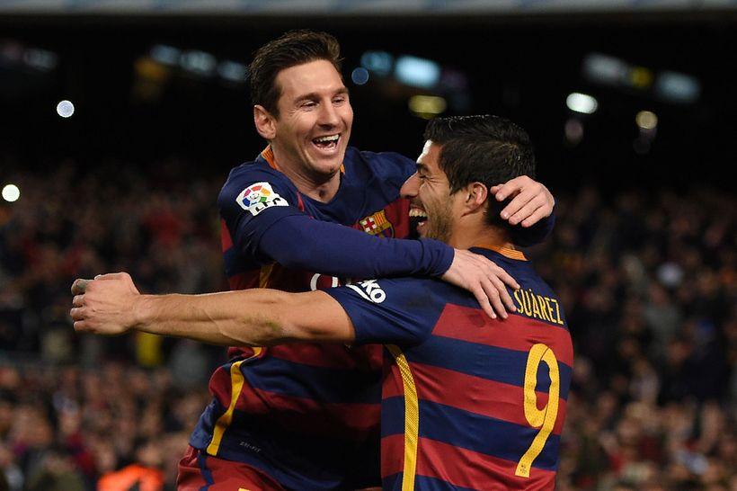 Luis Suarez og Lionel Messi gátu fagnað markinu, en það ...