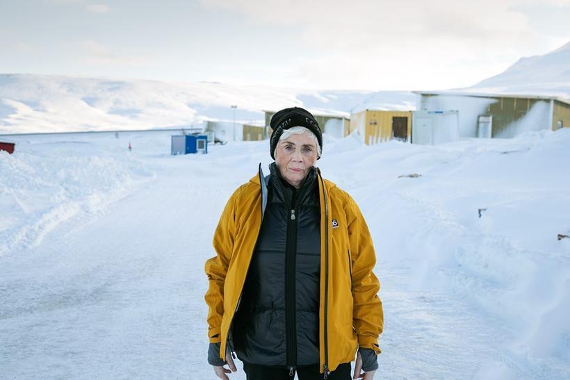 Pretty cool: Ásdís Karlsdóttir keeping warm in the latest 66°North ...