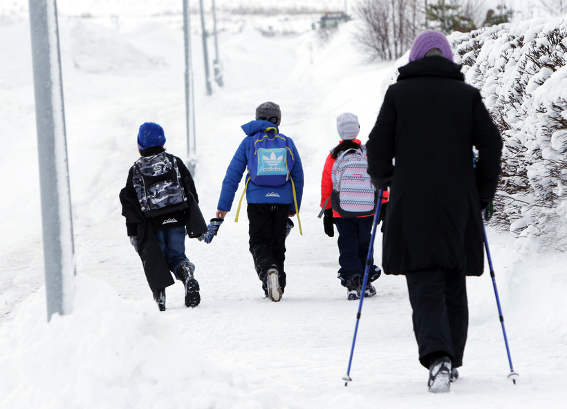 Walking to school takes a little longer than usual.