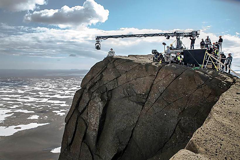 Frá tökum á kvikmyndinni Oblivion með Tom Cruise hér á ...