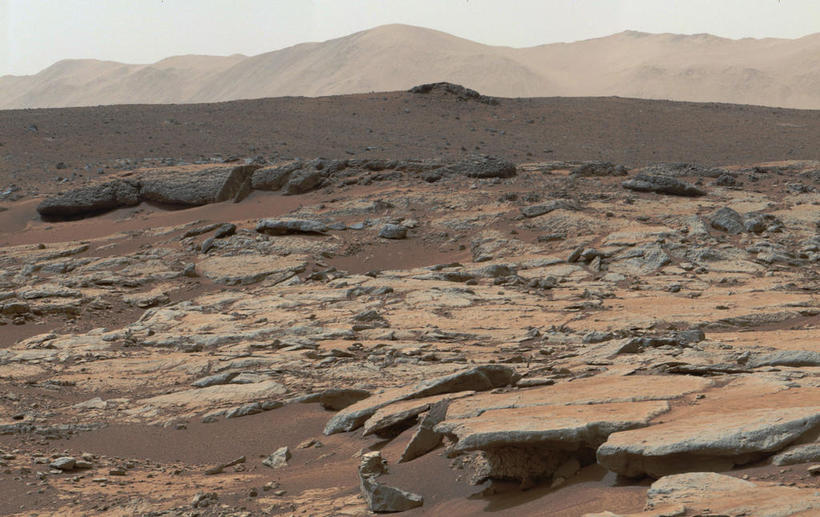 The Gale crater on Mars looks very much like a …