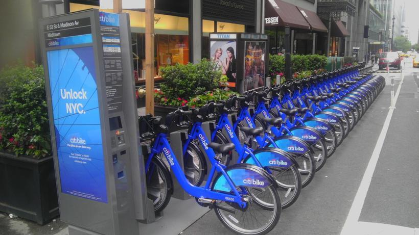 A bike share in New York is a popular option.