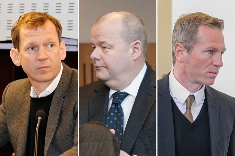 Hreiðar Már Sigurðsson (left), Sigurður Einarsson middle) and Magnús Guðmundsson ...