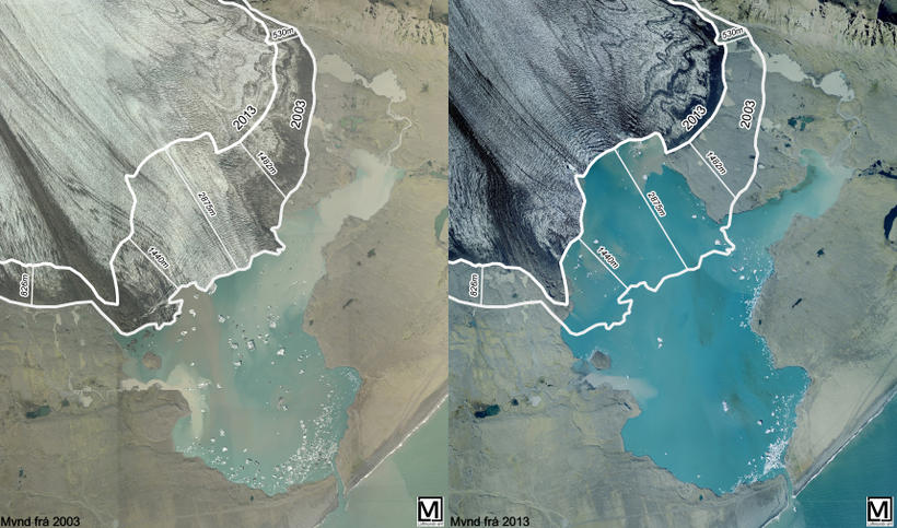 The glacier has receded huge distances in just ten years …