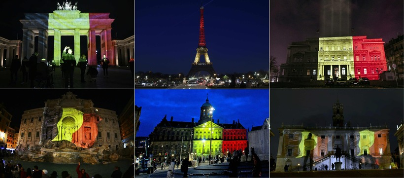 Belgian colours adorning the momument of Europe.
