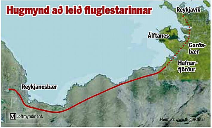Hugmynd að leið fluglestarinnar.