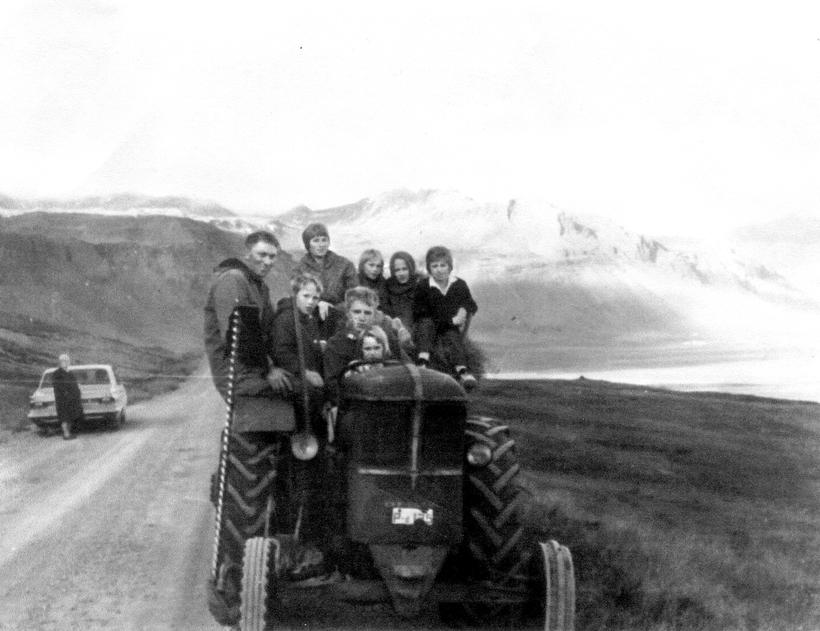 Some of the siblings on a newly arrived tractor back ...