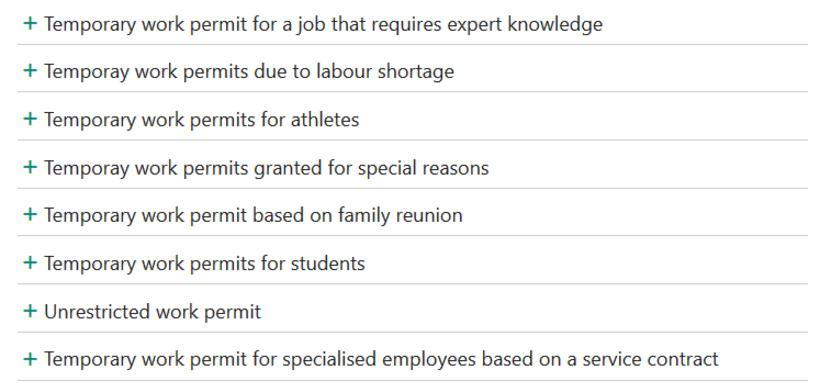 Various types of work permit.