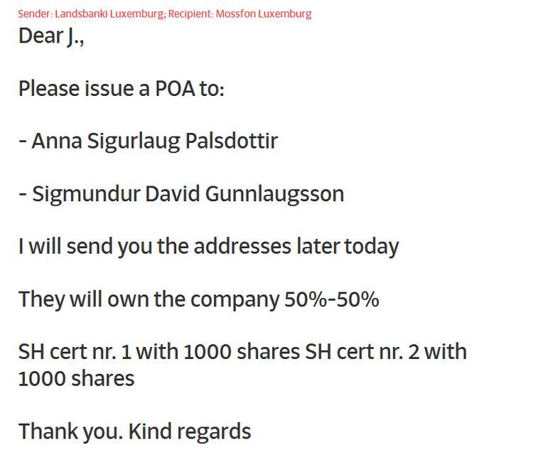 An email from Landsbankinn in Luxemburg to Mossfon in Luxemburg ...