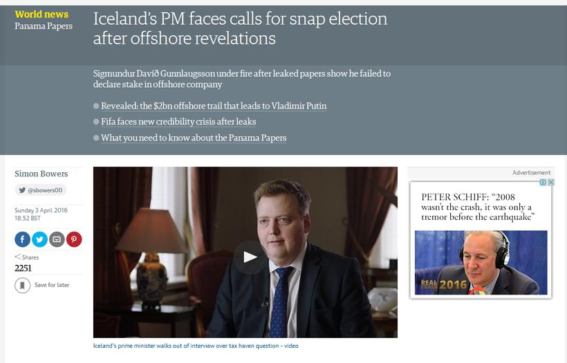 PM Gunnlaugsson is making the headlines all over the world.