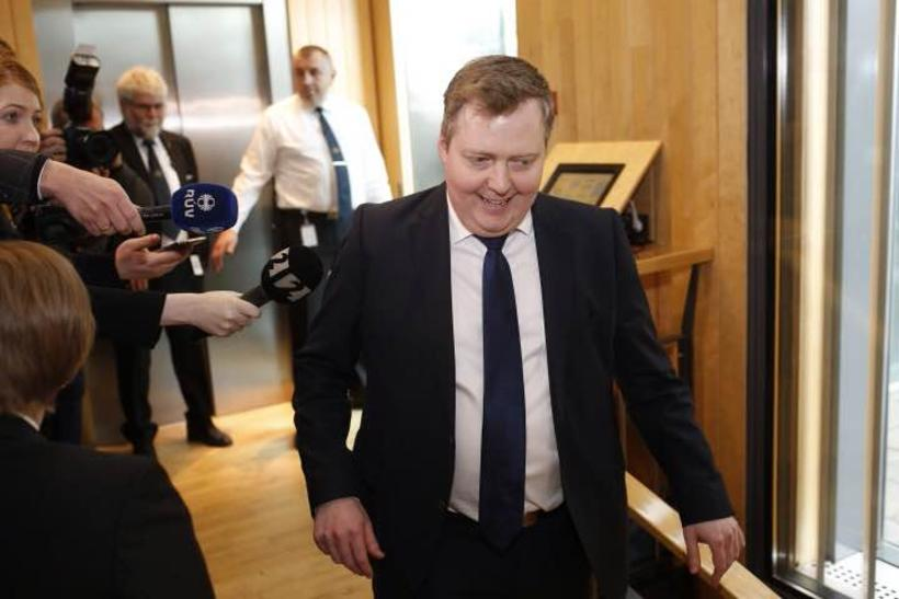 PM Gunnlaugsson leaving his party meeting today.