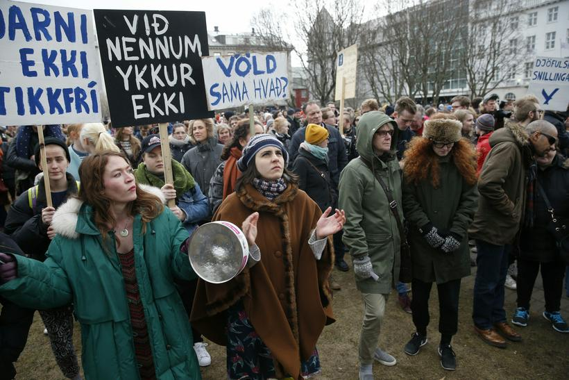 """Protesters carrying banners saying """"Bjarni is not innocent,"""" """"We have ..."""