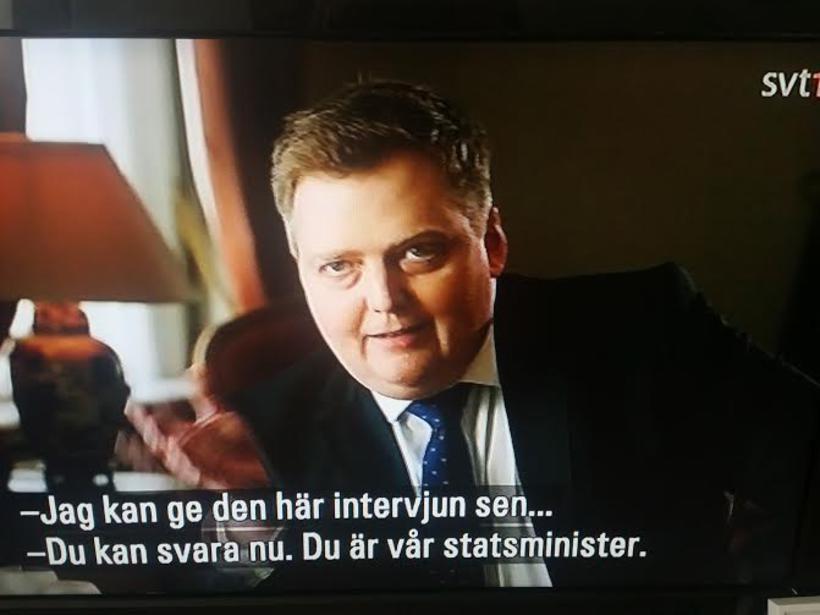 Sigmundur Davíð gekk út úr viðtali þar sem hann var ...