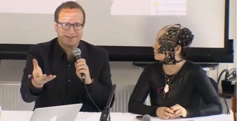 Andri Snær Magnason and Björk.