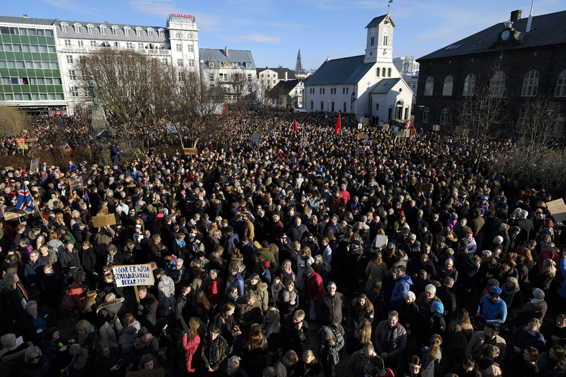 """Iceland has never seen day-in-day-out protests before,"" explained Grímsson at ..."