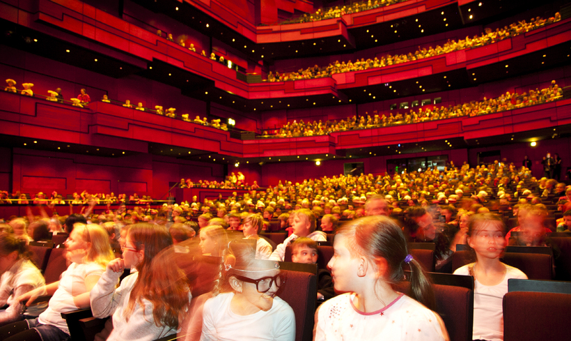 Kids at Harpa concert hall at the festival.