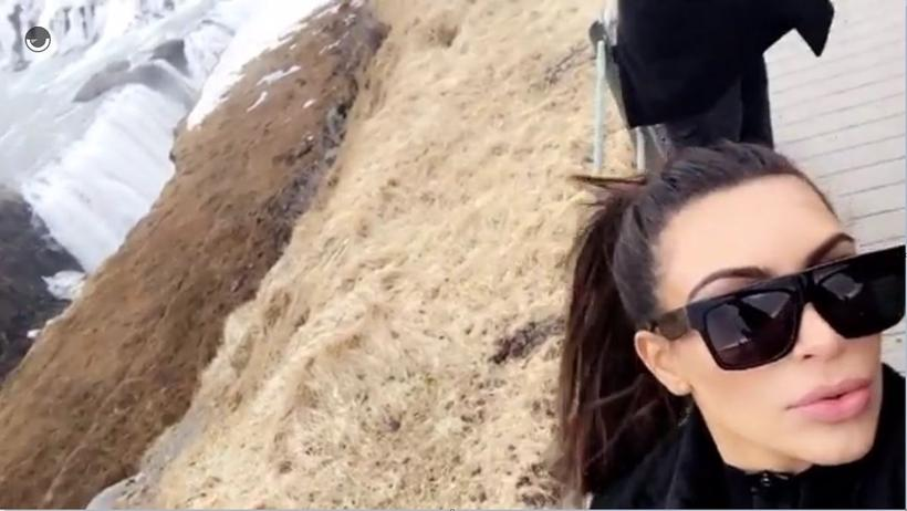 Kim Kardashian Snapchatting at Gullfoss yesterday.