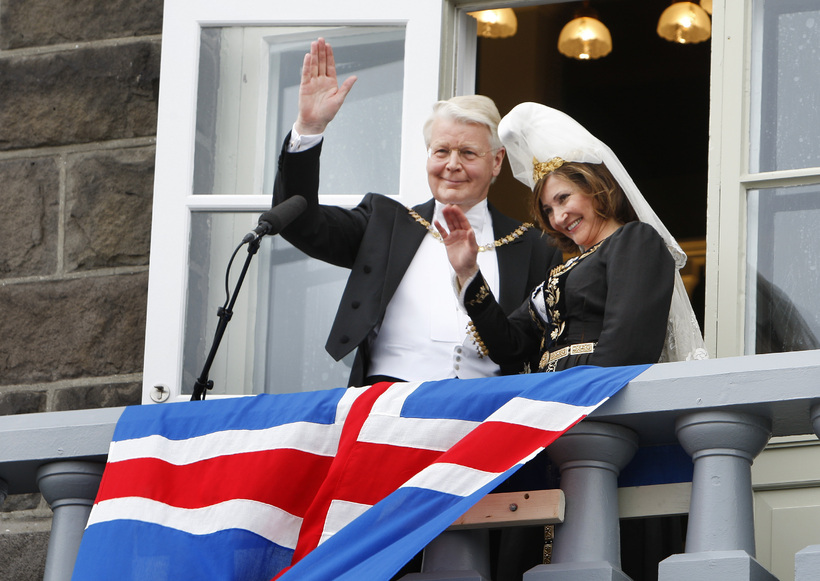 Ólafur Ragnar Grímsson with his wife after his election victory ...
