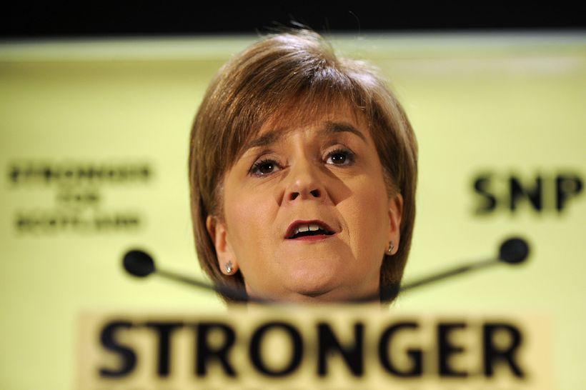 Nicola Sturgeon á baráttufundi í Glasgow.