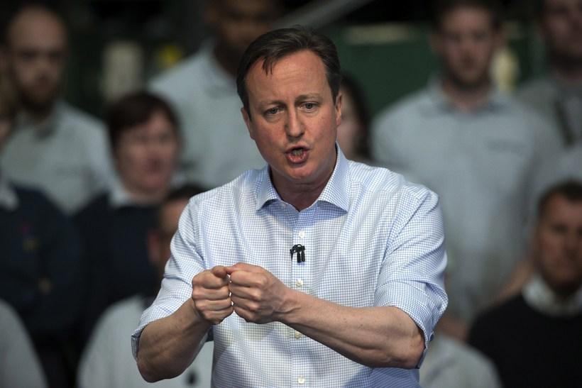 David Cameron forsætisráðherra galvaskur á kosningafundi í vikunni.