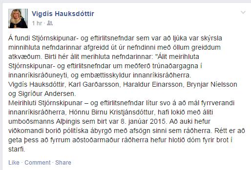 Skjáskot af Facebook færslu Vigdísar Hauksdóttur.