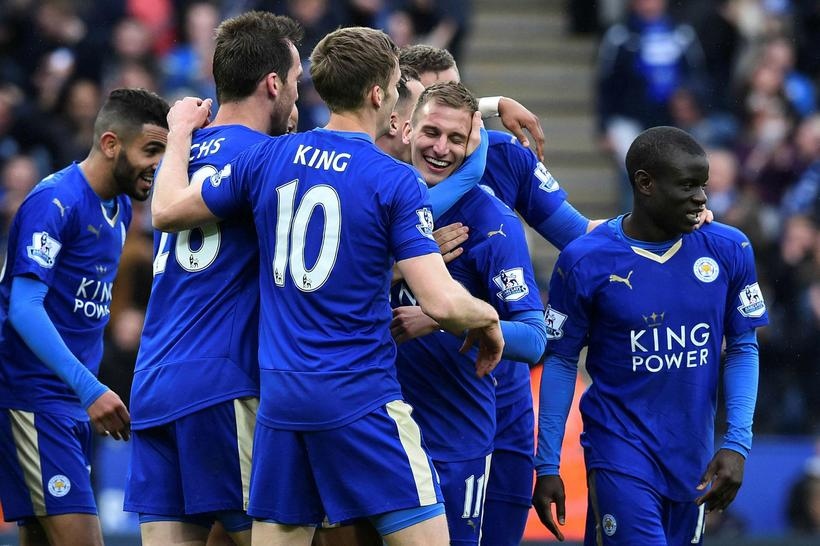 Leicester City players celebrating yesterday.