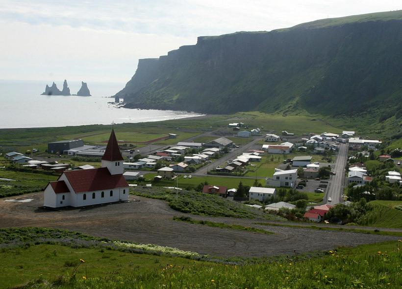 The picturesque coastal town of Vík in Mýrdalur county.