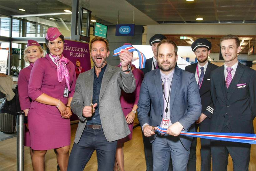Skúli Mogensen cutting the ribbon for Wednesday's maiden service to …