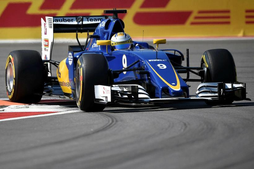 Marcus Ericsson á Sauber í rússneska kappakstrnium í Sotsjí.