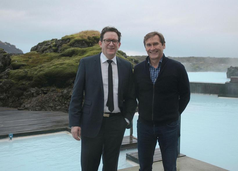 Health Minister Kristján Þór Júlíusson (left) and Blue Lagoon CEO ...