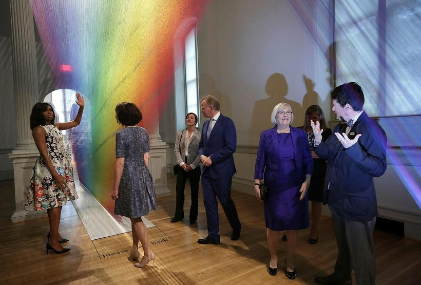 Michelle Obama showing spouses around the Renwick Gallery