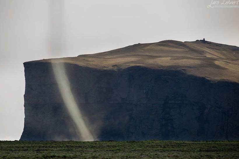 A dust devil in Mýrdalssandur.
