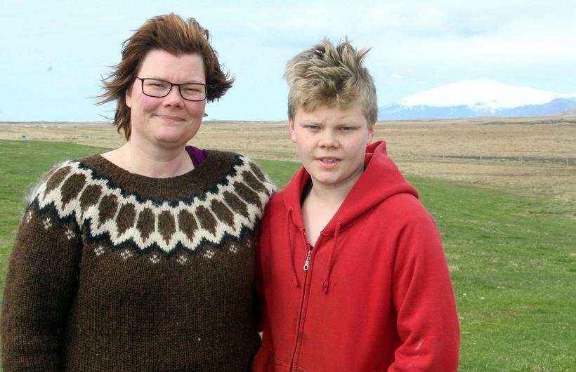 Ragnhildur Sigurðardóttir, farmer at Álftavatn with her son Jökull, named …