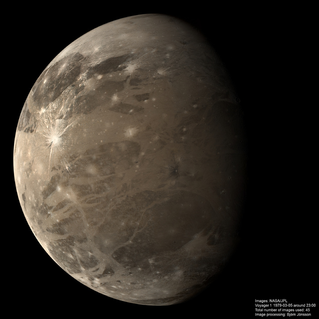 This mosaic of Ganymede was made using 45 images obtained …