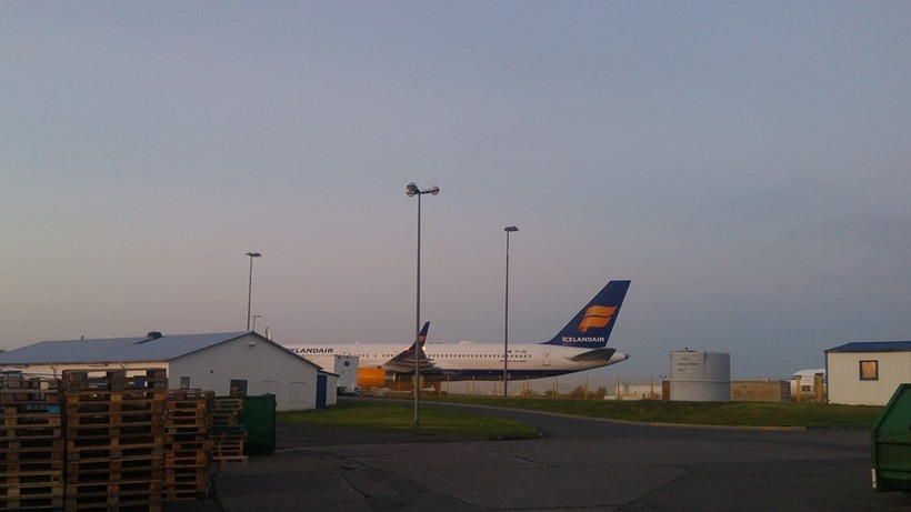 An Icelandair jet at Reykjavik City Airport last night.