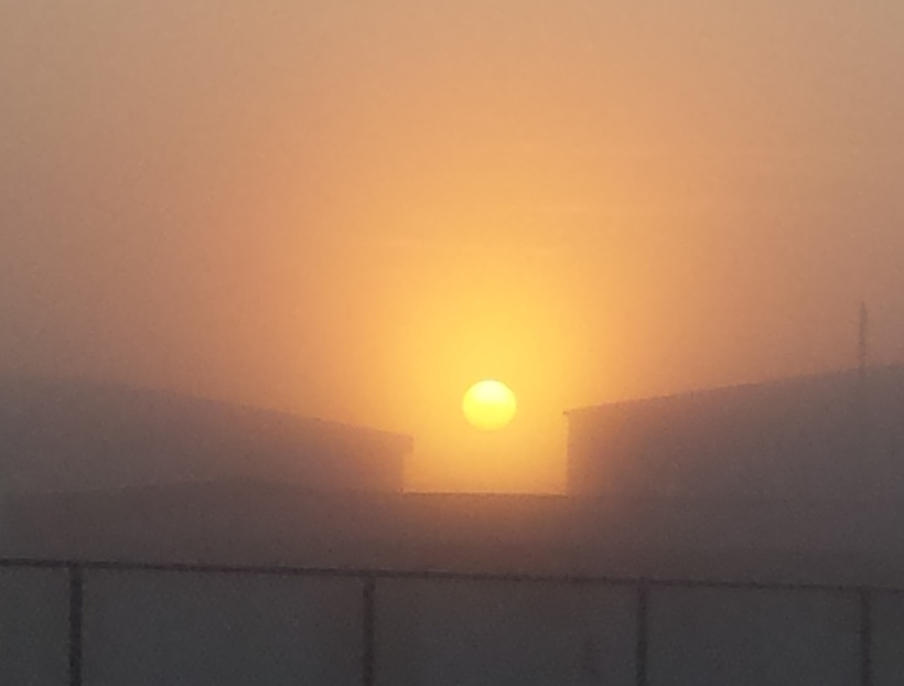 The sun poking through the fog at 4am this morning …