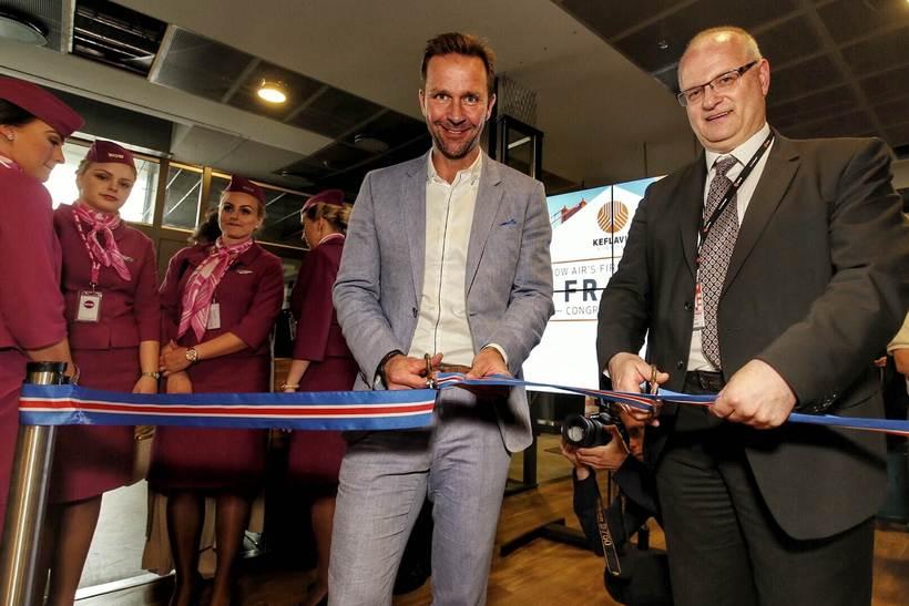 Skúli Mogensen and director of Isavia Björn Óli Hauksson celebrate ...