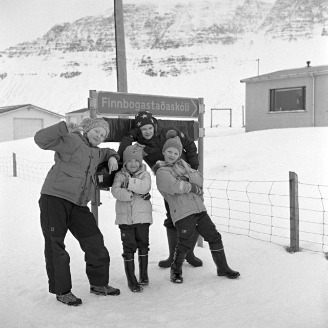 Young photographers at Finnbogastaðir school in the Strandir region. Their …