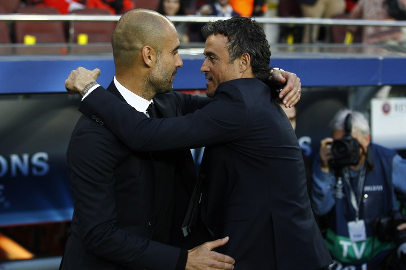 Pep Guardiola og Luis Enrique.